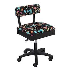 Gaslift Chair- Black with Multi Colour Pattern