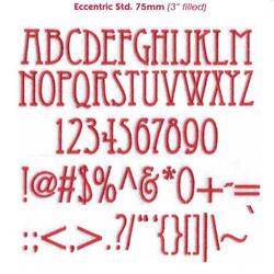 Eccentric 75mm (fill stitch) BX font for Embrilliance Essentials and Alpha Tricks - Download Only
