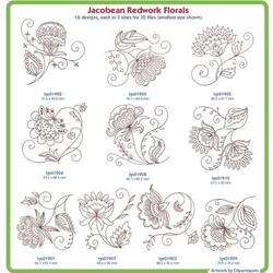 Jacobean Redwork Flowers