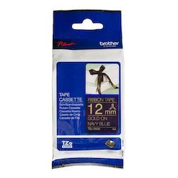 Brother P-Touch TZe 12mm Tape 4m - Gold on Navy Blue Ribbon