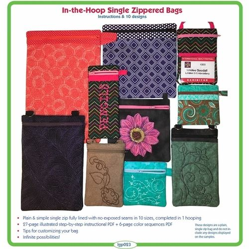 In-The-Hoop Single Zipper Bags by Lindee Goodall